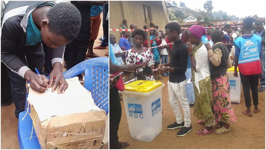 A gauche, un habitant de Butembo vote dans une urne improvisée en carton et, à droite, plusieurs habitants de Beni s'apprêtent à voter dans une urne de 2011 réutilisée pour ce « scrutin non-officiel », le 30 décembre 2018.
