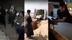 Some Iraqis have been refusing to let those who died of coronavirus be buried anywhere near their towns. (Screengrabs of videos shared on social media).