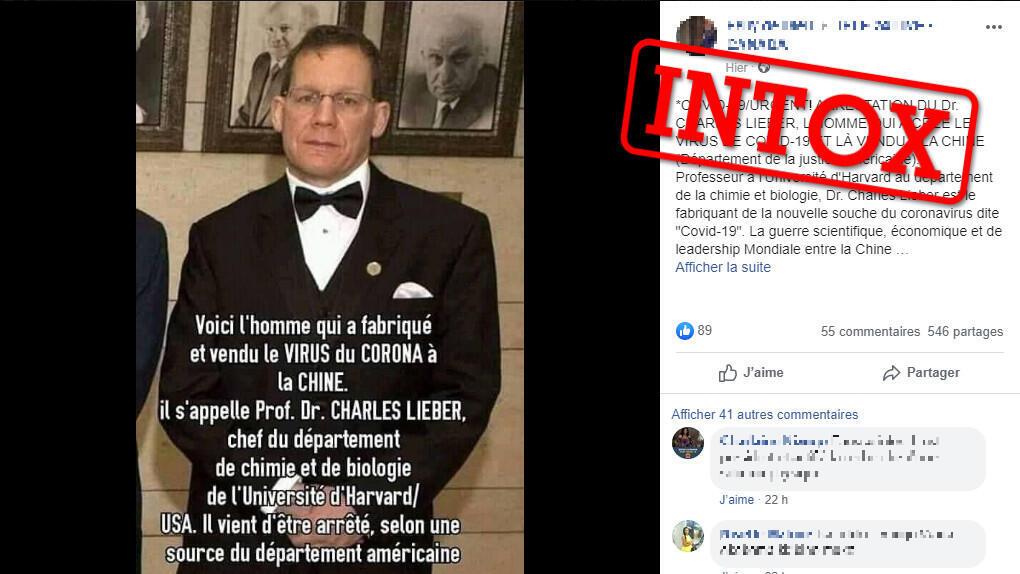 Une photo publiée sur Facebook prétend à tort que Charles Lieber, un scientifique de renom aux Etats-Unis, aurait été arrêté pour avoir vendu le coronavirus à la Chine. Capture d'écran d'une publication sur Facebook.
