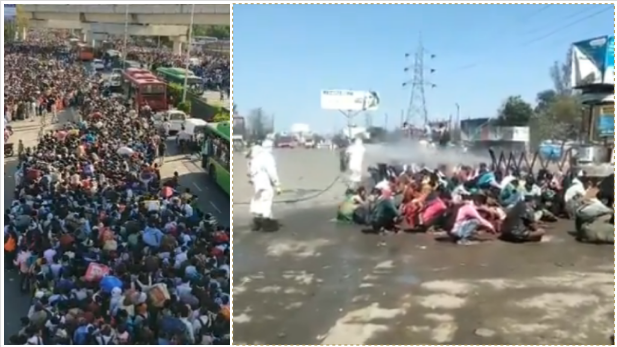 Thousands of migrant workers are trying to get back home during India's lockdown, and officials spray a group of them with corrosive disinfectant. Photos from Twitter.