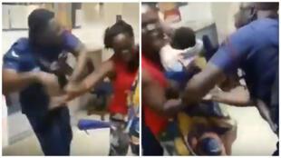 Une femme qui portait un bébé a été agressée par un policier parce qu'elle voulait retirer de l'argent dans un établissement d'Accra, le 19 juillet 2018. Captures d'écran d'une vidéo de la scène.