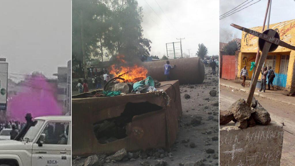 A Kinshasa (à gauche) ou à Goma (au centre et à droite), les manifestations de l'opposition congolaise ont été dispersées. Photos Patient Ligodi et Diaspora Katangaise.