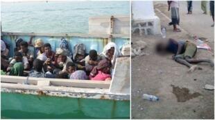 À gauche, des migrants en partance pour le Yémen, interceptés par les garde-côtes djiboutiens. À droite, un migrant allongé dans une rue de Tadjourah, manifestement atteint de choléra ou diarrhée aigüe. Photos publiées sur Facebook.