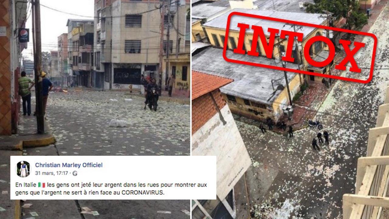 Des publications prétendent que les italiens jettent de l'argent par les fenetres en pleine pendémie du coronavirus, mais c'est une intox !