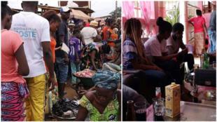 Un marché de la capitale centrafricaine Bangui et, à gauche, un bar resté clandestinement ouvert malgré l'interdiction. Photos : Vicky Nelson Wackoro