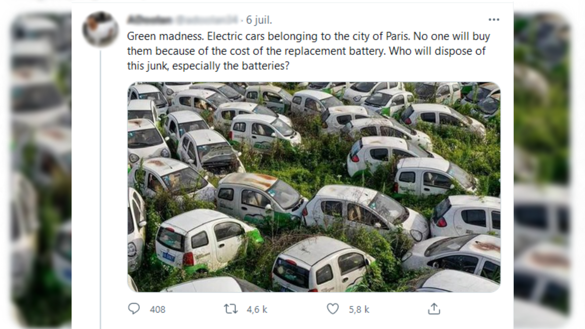 This is a screengrab of a tweet talking about electric cars belonging to the city of Paris. This tweet was shared five thousand times.  To check it out, click on the image.