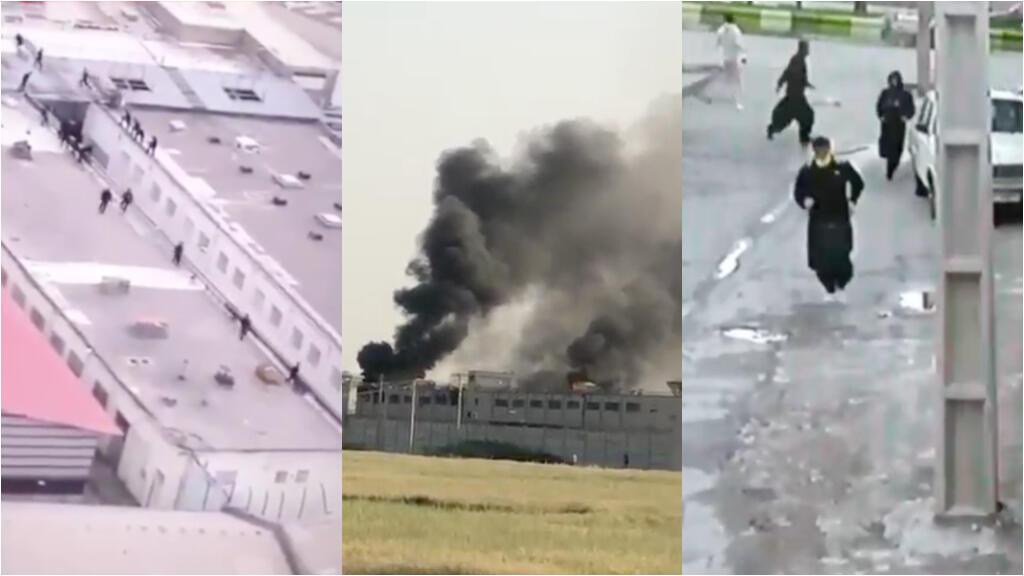 Images circulant sur les réseaux sociaux en Iran montrant les émeutes ou évasions de prisonniers à Tabriz (à gauche), Ahvaz (centre) et Saqqez (à droite).