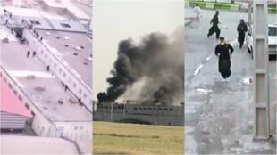 تصاویری که در شبکههای اجتماعی در ایران منتشر میشوند، نشان از شورش در زندان یا فرار زندانیان دارد. تصاویر از چپ به راست زندانهای تبریز، اهواز و سقز هستند.