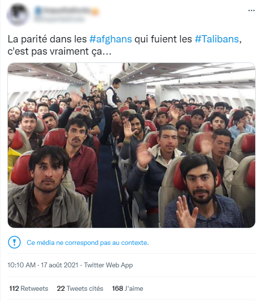 """A screenshot of a Tweet published on August 17, 2021 that says, """"Gender equality among the #Afghans fleeing the #Taliban, not so much…"""". In reality, the photo doesn't show evacuations out of Kabul, but rather a repatriation flight of Afghan refugees expelled from Turkey in 2018."""