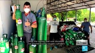 Several groups of volunteers in Manaus, Brazil have been working together to get supplies of oxygen to hospitals overwhelmed with Covid-19 patients.