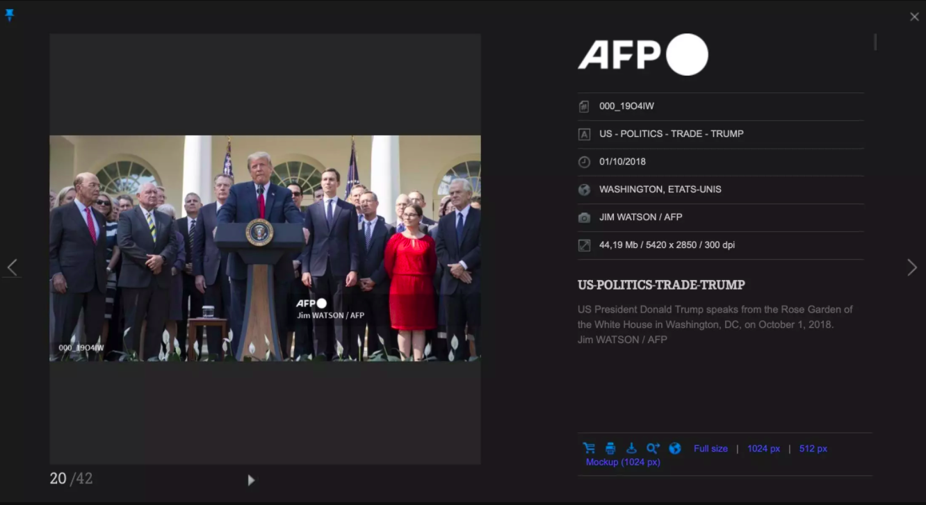 Screengrab of the photo visible on AFP's image library, photo taken for AFP by Jim Watson on October 1, 2018.