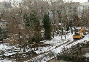 Démolition d'un parc à Téhéran.