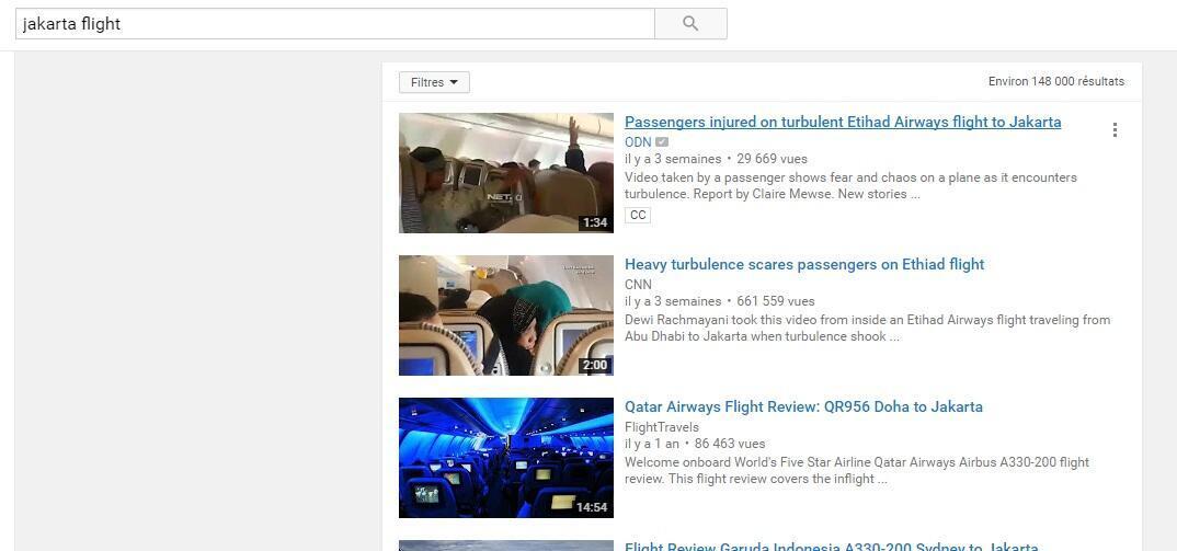 """Une recherche sur Youtube avec les mots """"Jakarte flight"""" permet de retrouver la vidéo originale tout en haut de cette liste."""