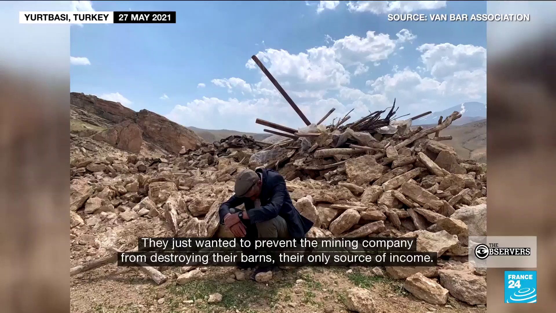 Residents of the village of Yurtbasi, in Eastern Turkey, went out to protest May 26 to try and stop a company that wants to demolish the buildings where they house their animals in order to build a marble quarry.