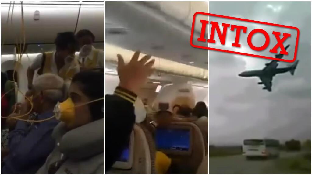 Ces trois vidéos n'ont pas été prises avant le crash d'un avion le 10 mars. La rédaction des Observateurs de France 24 vous explique pourquoi. Captures d'écran / réseaux sociaux.