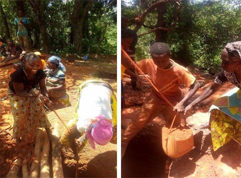 Des adolescents travaillent dans une mine à Norassoba, dans le nord de la Guinée. Photo : Sekou Doumbouya