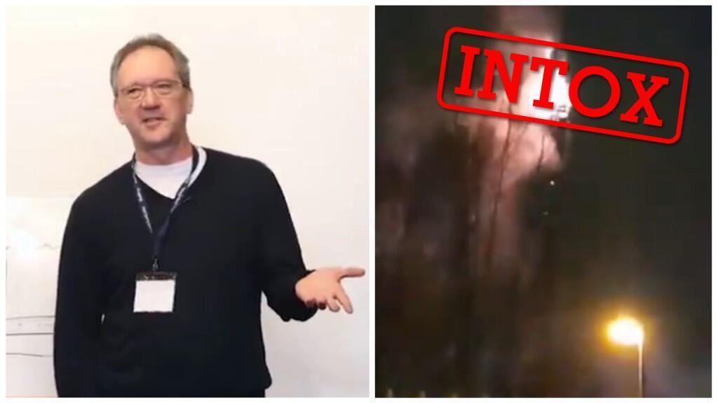 À gauche, le Dr. Thomas Cowan qui a donné une conférence sur le sujet, diffusée sur YouTube et, à droite, une antenne téléphonique en flammes au Royaume-Uni.