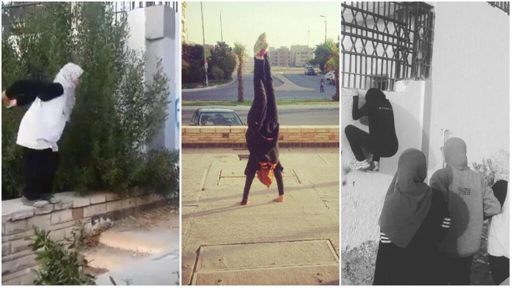 """Les membres du """"Ladies Parkour Egypt"""", au Caire. Captures d'écran de vidéos de leur page facebook."""