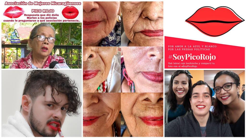 """Ces photos ont été publiées sur les réseaux sociaux avec les hashtags #YoSoyPicoRojo et #SoyPicoRojo (""""j'ai le bec rouge""""). Crédits : captures d'écran / Twitter."""