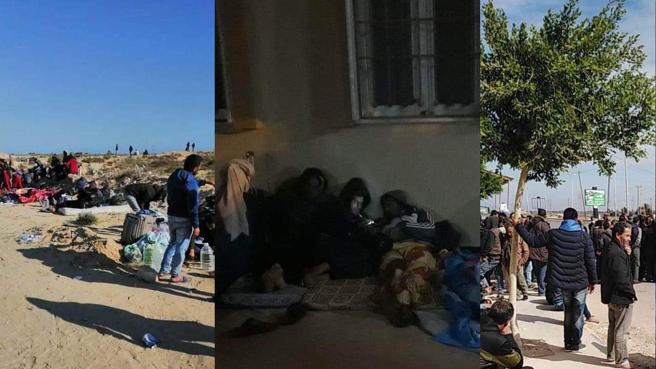 Plus de 400 Tunisiens vivent actuellement aux frontières libyennes, dans le désert, en attendant d'être rapatriés chez eux. Photos : Mohamed Bouzidi.