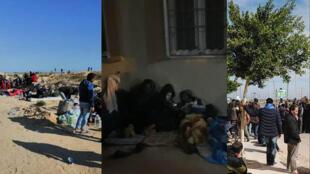 أكثر من 400 تونسي يعيشون حاليا على الحدود الليبية، في الصحراء في انتظار إجلاءهم إلى بلادهم. صور محمد البوزيدي