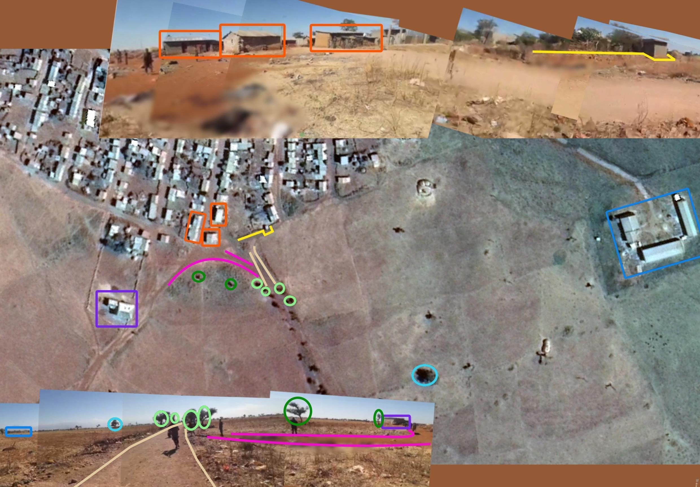 En haut, un montage de différentes captures d'écran de la vidéo, au moment où le cameraman filme en direction du village et, en bas, un montage montrant le moment où il filme la sortie du village (direction sud-ouest). On voit les mêmes éléments entourés sur une image satellite capturée aux coordonnées suivantes : 13.820976, 38.125441.