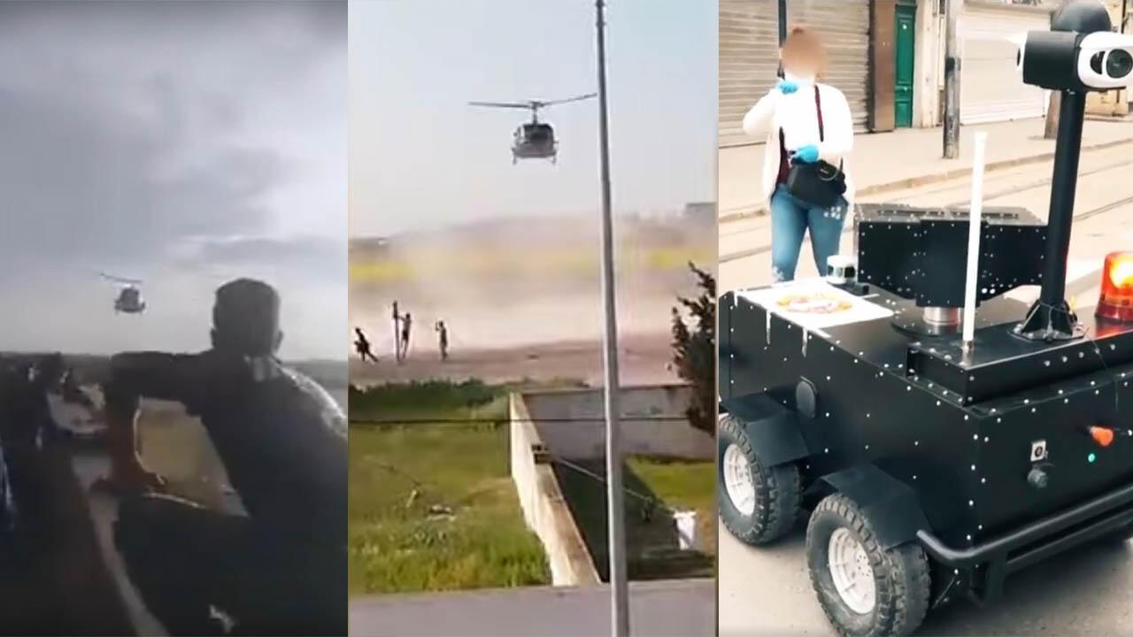 استخدام طائرة مروحية عسكرية وروبوت من صنع محلي لفرض احترام الحجر الصحي الشامل. صور شاشة من مقاطع فيديو منشورة على فيسبوك.