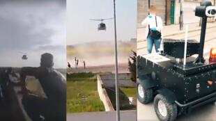 Des hélicoptères de l'armée et un robot de fabrication locale pour faire respecter le confinement total. Captures d'écran de vidéos partagées sur Facebook.