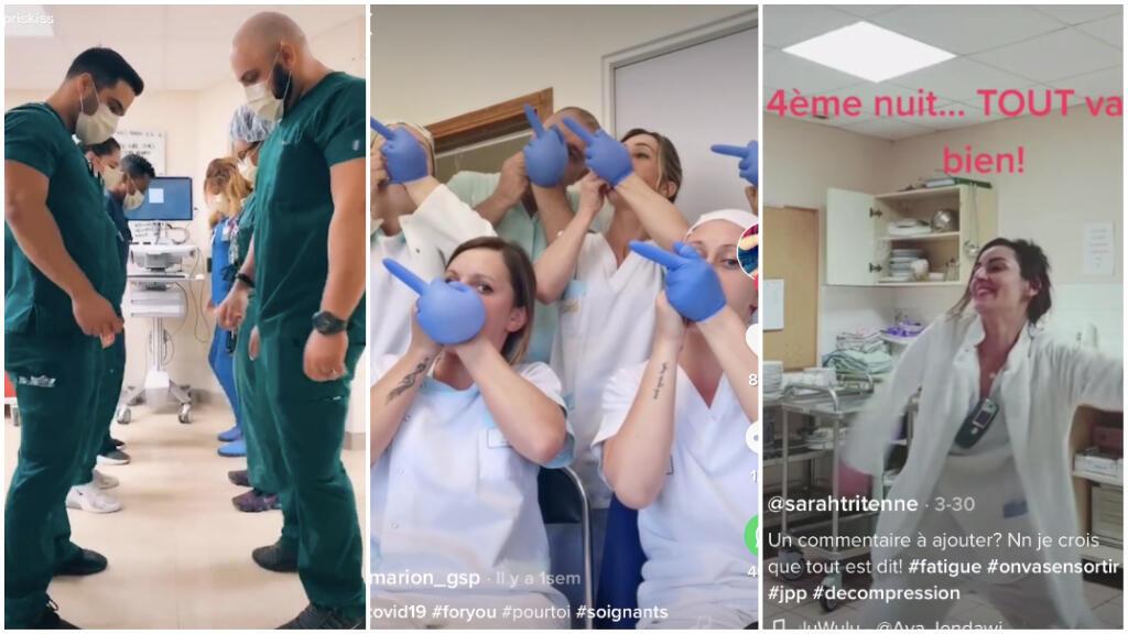 Partout dans le monde, les soignants ont choisi Tik Tok pour relâcher la pression entre deux services à l'hôpital. Captures d'écran / Tik Tok.