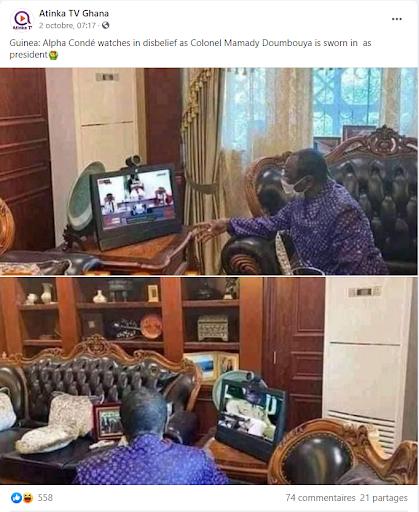 Capture d'écran de deux photos publiées sur Twitter par Atinka TV, une chaîne d'information ghanéenne, datant du 2 octobre, qui semblent montrer Alpha Condé suivre sur un écran la prestation de serment de Mamady Doumbouya.