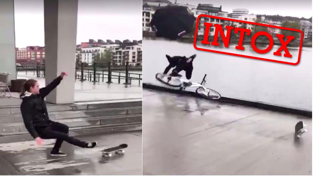 La vidéo de ce cycliste tombant dans une rivière après avoir glissé sur un skate a fait le buzz... mais elle n'a rien d'authentique !