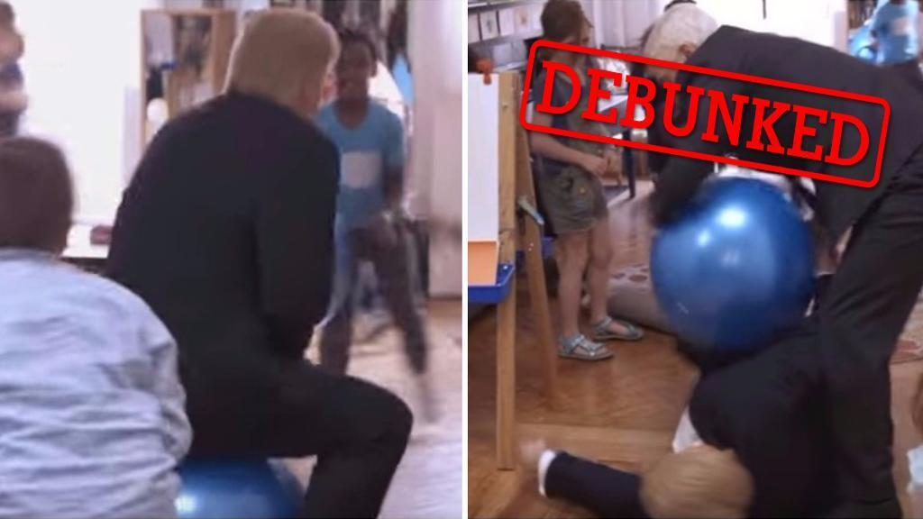 On the left, 'Trump' bounces on a space hopper. On the right, 'Mike Pence' tries to tackle him away from the toy.