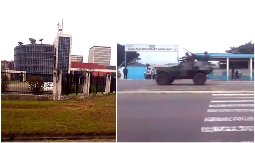 Les forces de l'ordre gabonaises patrouillent dans les rues de Libreville alors que plusieurs militaires avaient pris le contrôle de la maison de la radio. Capture d'écran d'images amateur