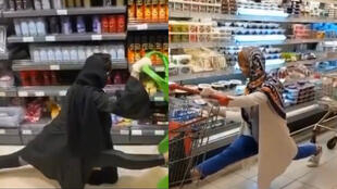 Images of women doing the splits during a challenge organised by a supermarket chain in Iran.