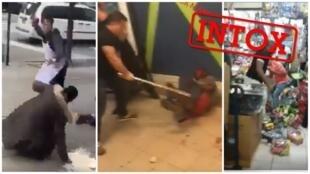 Aucune de ces vidéos virales ne montre des violences liées aux rumeurs sur le Covid-19 visant les Africains de Chine. Captures d'écran / réseaux sociaux.
