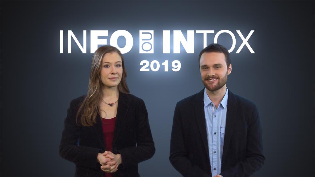 """""""INFO ou INTOX"""" est une émission de 9minutes consacrée au décryptage des fausses informations, présentée par Chloé Lauvergnier et Alexandre Capron des Observateurs de France24."""