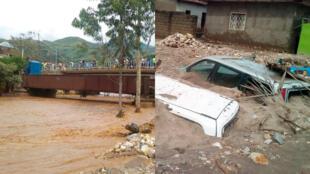 Les inondations après la montée des eaux des rivières Mulongwe à Uvira en RDC et Rusizi au Burundi ont causé des dégâts matériels et humains considérables. Photos prises par David Bondé.