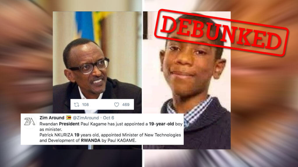 Lots of people shared this photo on social media, claiming it showed a 19-year-old named Patrick Nkuriza, who had just been appointed as a minister by Rwandan President Paul Kagame. But the story was completely fabricated.