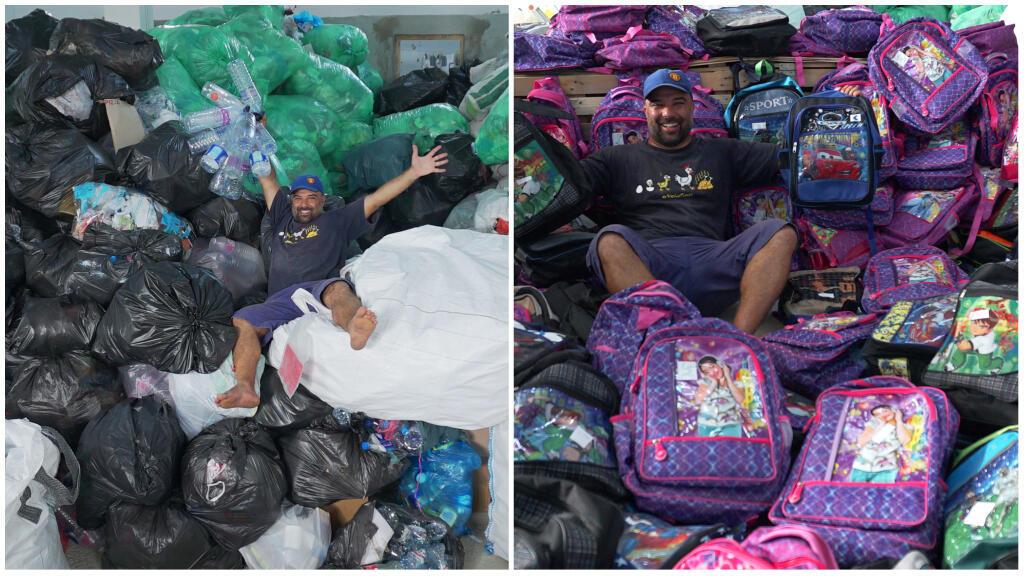 """Avec son association """"Tunisie recyclage"""", Houssem Hamdi a troqué 21 tonnes de déchets contre des fournitures scolaires. Crédits: Tunisie recyclage / Houssem Hamdi."""