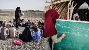 Iranian users publish photos of poorly-equipped schools in Iran, asking how online learning is possible in regions without internet or even TV.