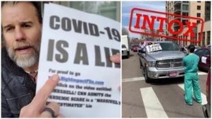 """À gauche, un influenceur américain montre sur sa chaîne YouTube un tract sur lequel on peut lire : """"le Covid-19 est un mensonge"""". À droite, une manifestation contre les mesures de confinement dans le Colorado, aux États-Unis."""