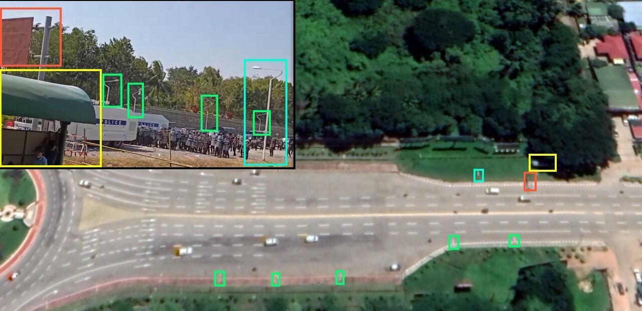Comparaison d'un capture d'écran de la vidéo et des alentour du rond-point Thapyaygone (coordoonées : 19.746822, 96.117287).