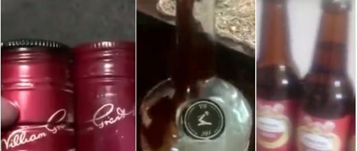 مشروبات كحولية مقلدة في إيران تحمل  قنيناتُها لصاقات مزورة في إيران.