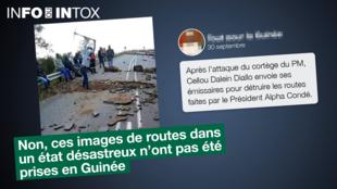 Cette photo montre t-elle vraiment des partisans de l'opposant Cellou Dalein Diallo en train de détruire une route en Guinée ?