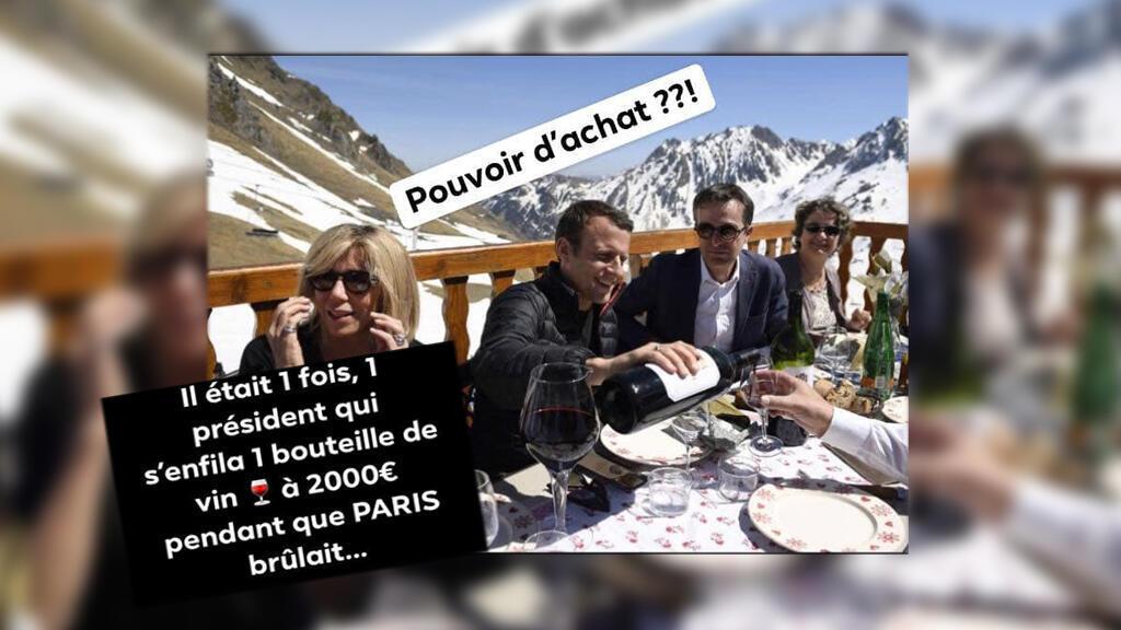 Des internautes ont partagé cette photo d'Emmanuel Macron au ski pendant l'acte 18 des Gilets jaunes. Mais l'image est ancienne.