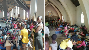 People living in Bouar in the Central African Republic sought shelter in the local cathedral after rebel attacks on January 7 and 9.