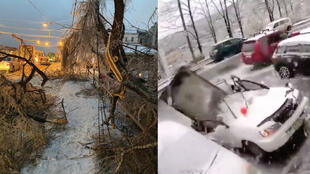 (Left) A photo by Twitter user Nikita Milkin shows fallen trees near a road in Vladivostok after a freak ice storm hit the city. (Right) A concrete slab falls on a car, almost killing a man.