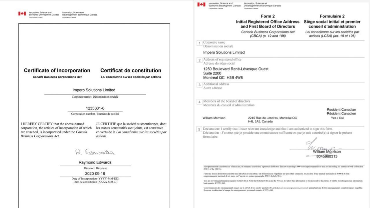 Some documents distributed by Impero Solutions, illegally using the Canada Corporations logo.
