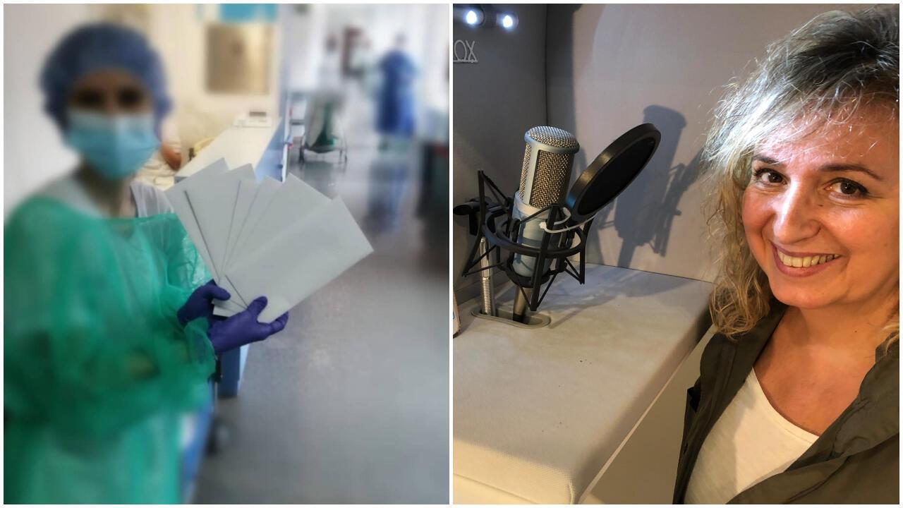Une soignante apporte des lettres aux patients en isolement à l'hôpital de la Princesa à Madrid; Carmen Sánchez Monterde enregistre un podcast avec des lettres. Crédits : @noteconozcopero / @cartasdesdemicasa.