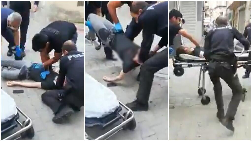 Captures d'écran de la vidéo montrant la victime, Ali Hemdan El Asani, un jeune Syrien de 18 ans décédé des suites d'une blessure par balle tirée par un policier turc.